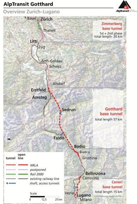 Szwajcaria Tunel kolejowy Gotharda Trasa